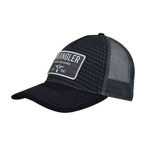 Wrangler Mens Steel Trucker Cap Black/Charcoal