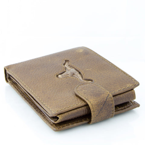 Men's Tri-Fold Leather Wallet - Steer Head