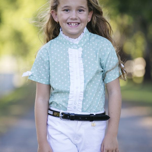 H&H Equestrian Kids Polka Dot Shirt - Mint