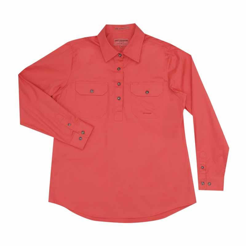 Just Country Jahna 1/2 Button Work Shirt - Hot Coral