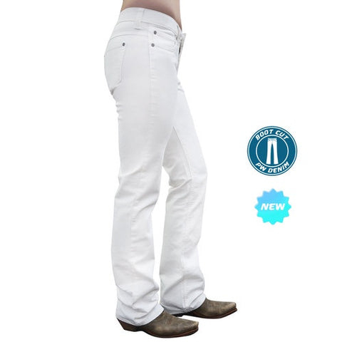 Pure Western Womens Riding Boot Cut Jeans - White