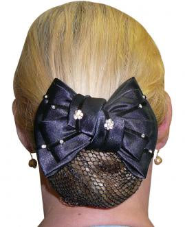 Diamonte Flowers Show Bow with Hair Net - Blue