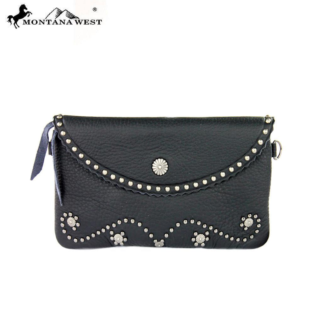 Montana West 100% Leather Clutch