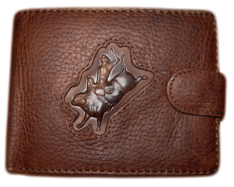 Men's Tri-Fold Leather Wallet - Bullrider Brand