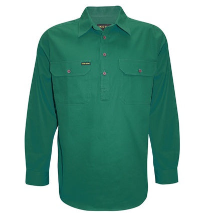 Hard Slog Mens Half Button Workshirt - Green