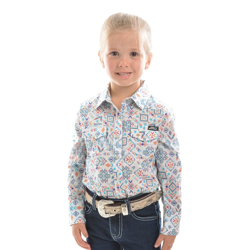 Pure Western Girls Violeta Print Long Sleeve Shirt