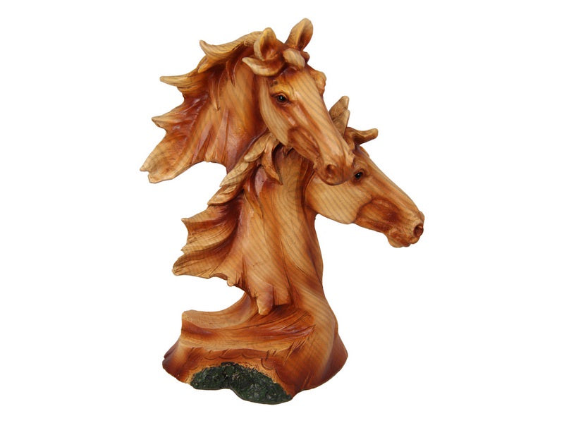 Twin Horse Wood Look Figurine