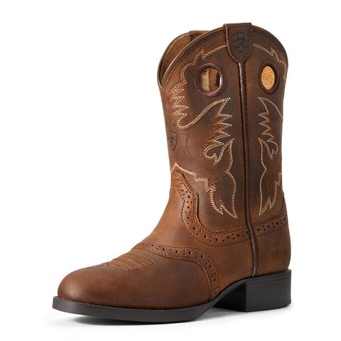 Ariat Kid's Heritage Stockman Boots Distressed Brown