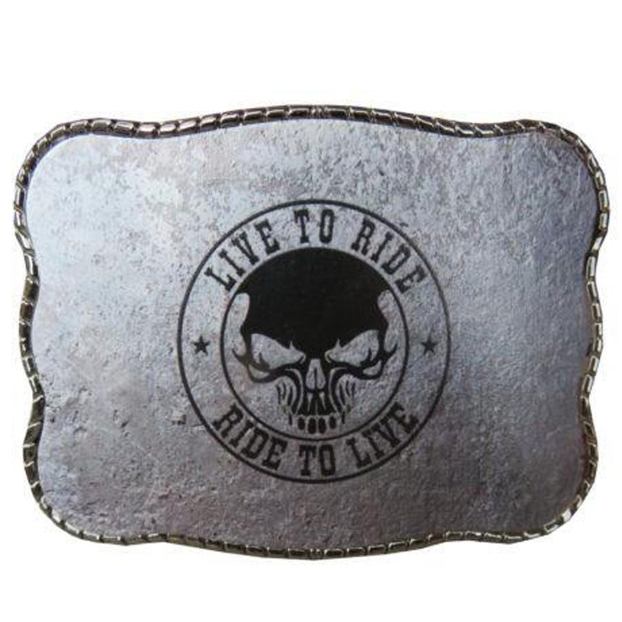 Live to Ride Skull Wallet Buckle
