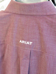 Mens Ariat Wrinkle Free Solid Pinpoint Classic Fit  Long Sleeve Shirt - Merlot Velvet
