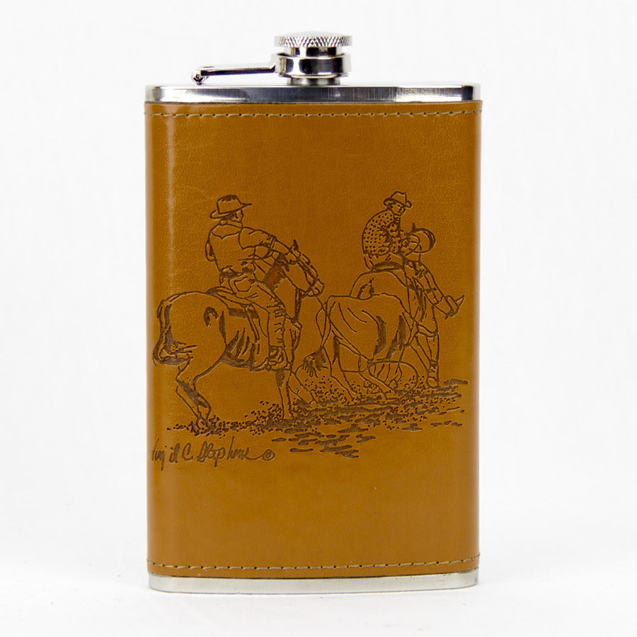 Leather Bound Flask - Team Roping