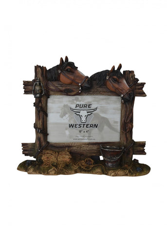 Stable & 2 Horse Picture Frame 6X4""