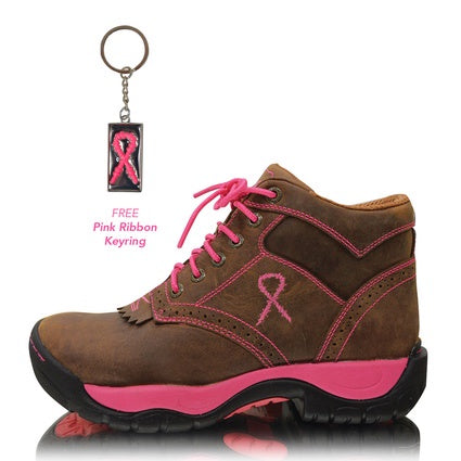 Twisted X All Round Lace Up Pink Ribbon K Toe Boots