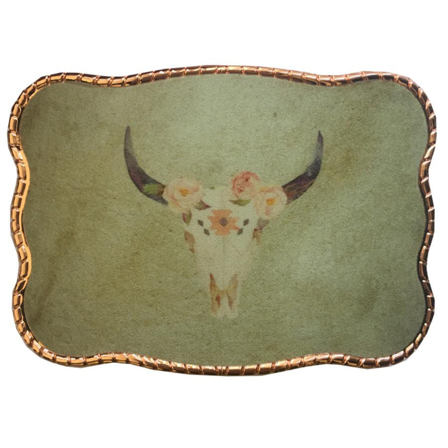 Boho Floral Cow Skull Wallet Buckle