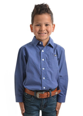 Pure Western Boys Jethro Print Button Down Long Sleeve Shirt