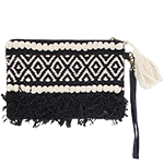 Boho Blackbird - embellished clutch with zip and removable strap
