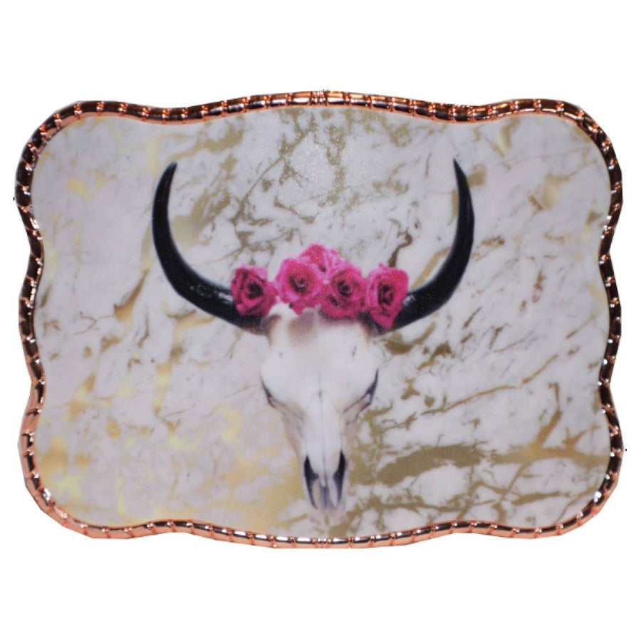 Pink and Gold Cowskull Wallet Buckle