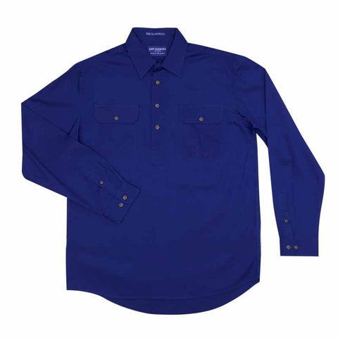 Just Country Cameron 1/2 Button Work Shirt - Cobalt