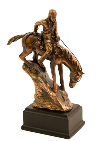 Brigalow Indian on Horseback Bronze Plated Statue - Small