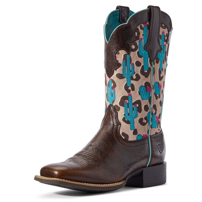 Ariat Round Up Willow Leopard Cactus Boots
