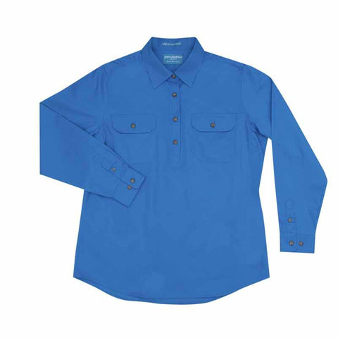 Just Country Jahna 1/2 Button Work Shirt - Blue Jewel