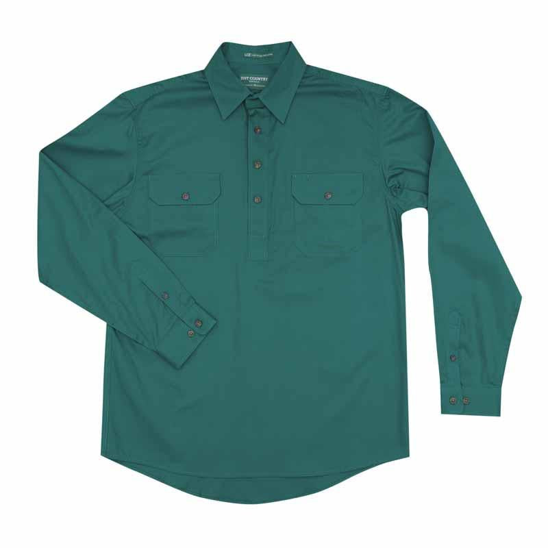 Just Country Cameron 1/2 Button Workshirt - Dark Green