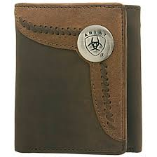Ariat Tri fold Wallet- Brown /Lite-Tan WLT3103A