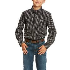 Ariat Boys Calvin Long Sleeve Print Shirt - Black