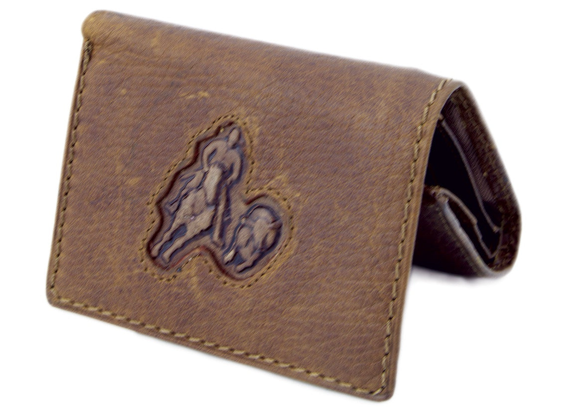 Men's Leather  Tri-Fold Wallet - Steer head
