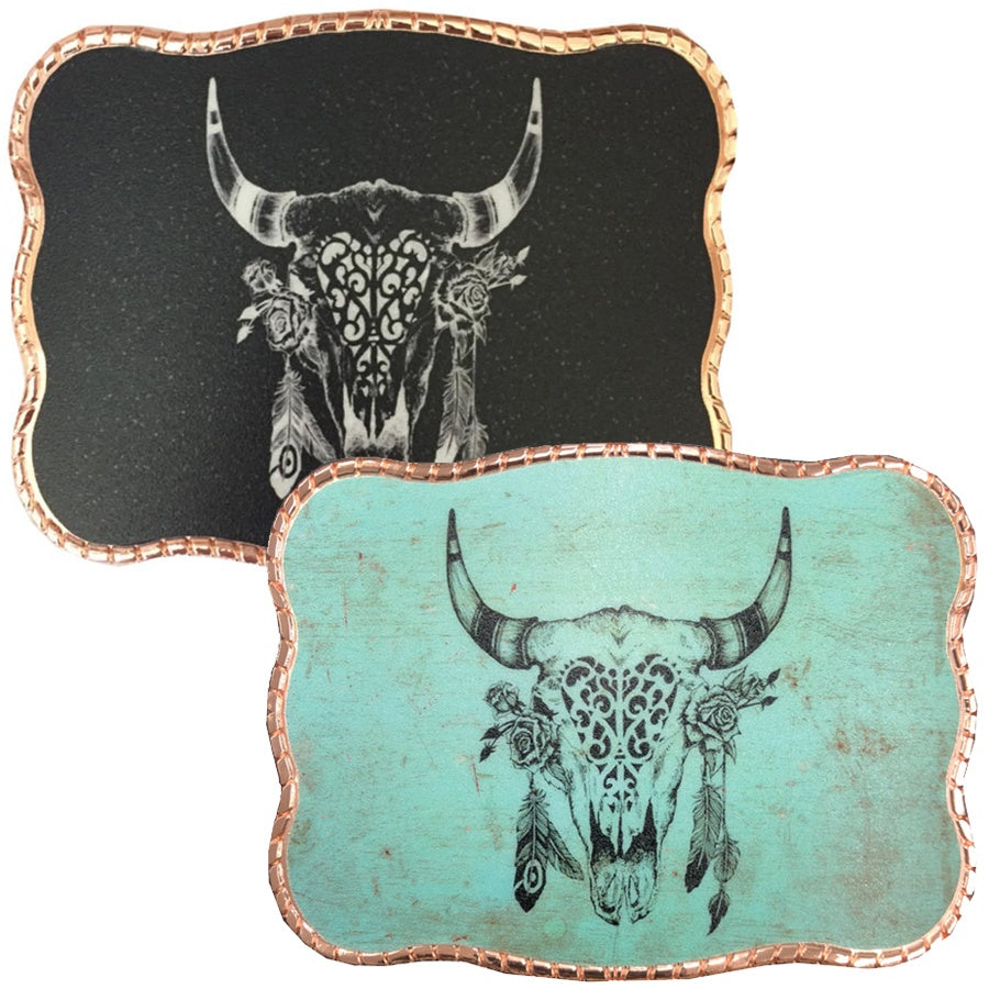 Boho Cow Skull and Feathers Wallet Buckle