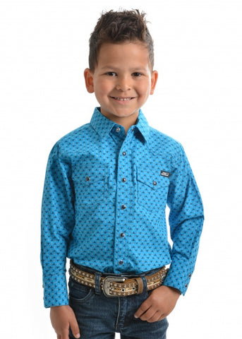 Pure Western Boys Davis Print Long Sleeve Shirt  - Deep Blue/Navy