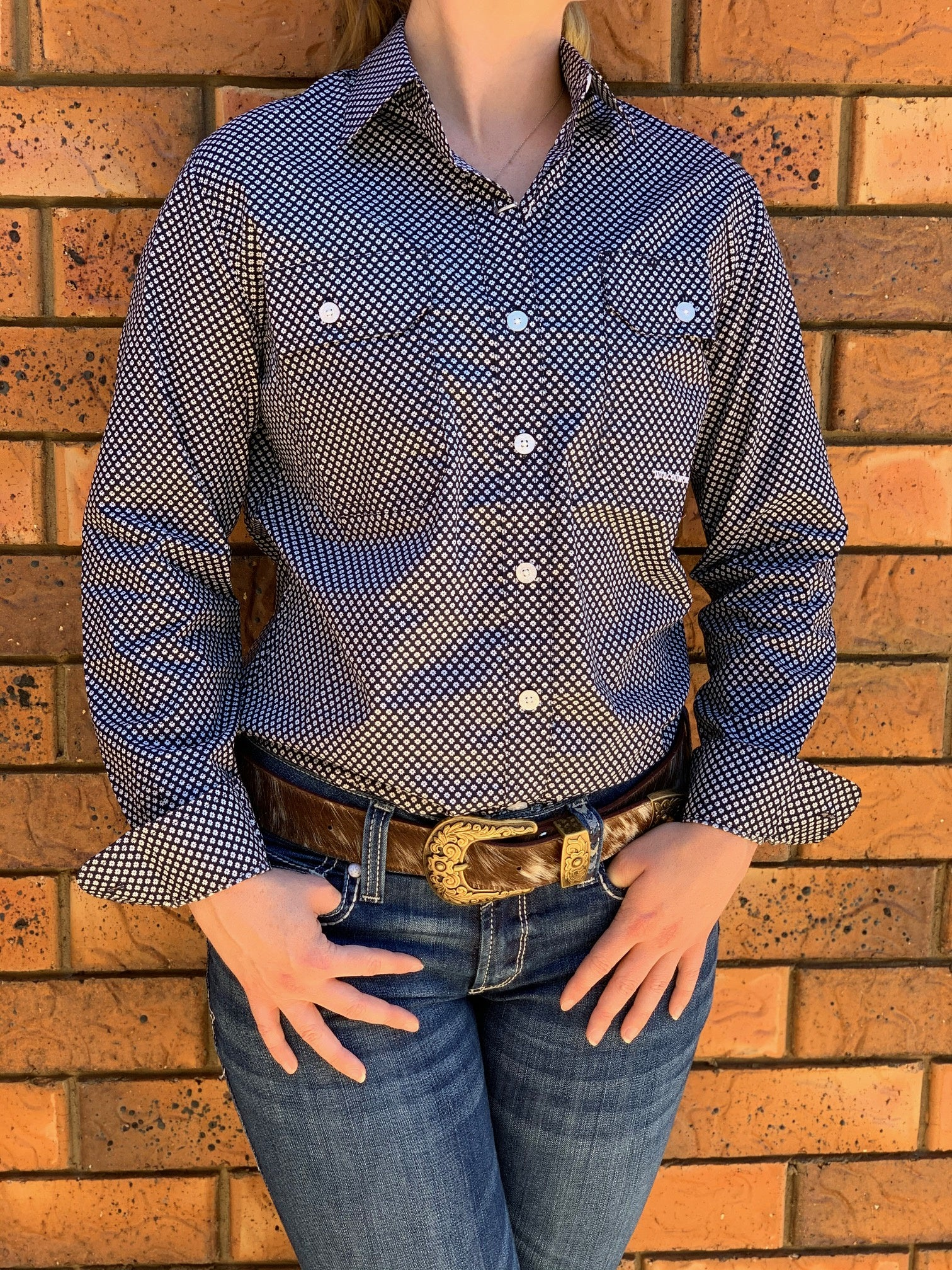 Just Country Abbey Full Button Work Shirt - Navy Daisy