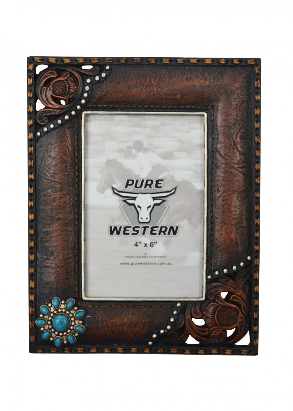 Embossed Leather Look Picture Frame 4x6""