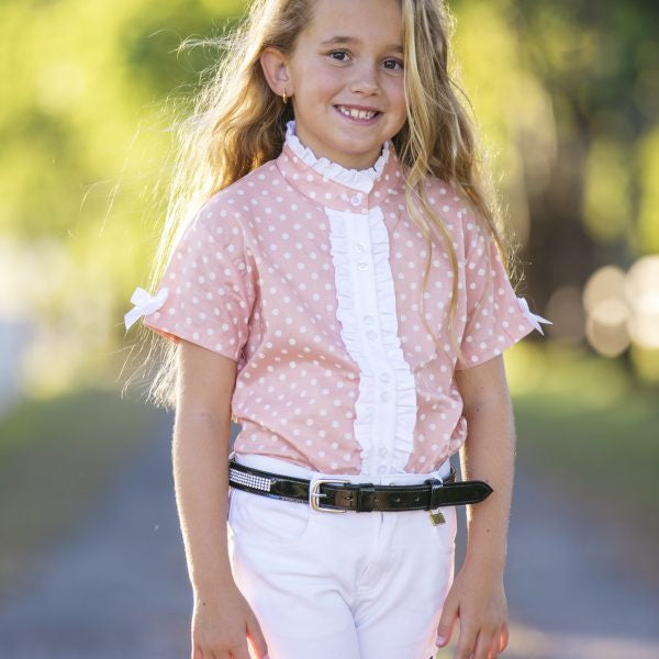 H&H Equestrian Kids Polka Dot Shirt Peach