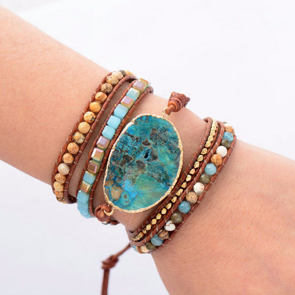 Leah Beaded Leather Jasper Charm Wrap Bracelet