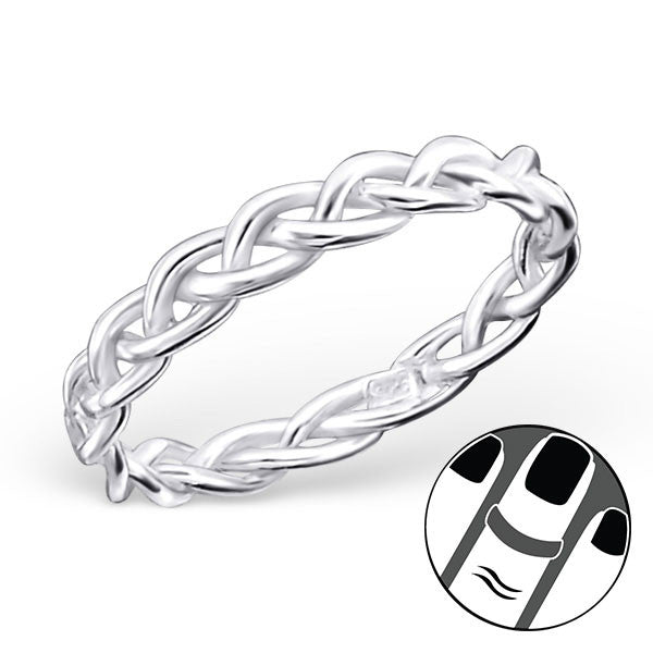 Braided Midi Ring in Sterling Silver