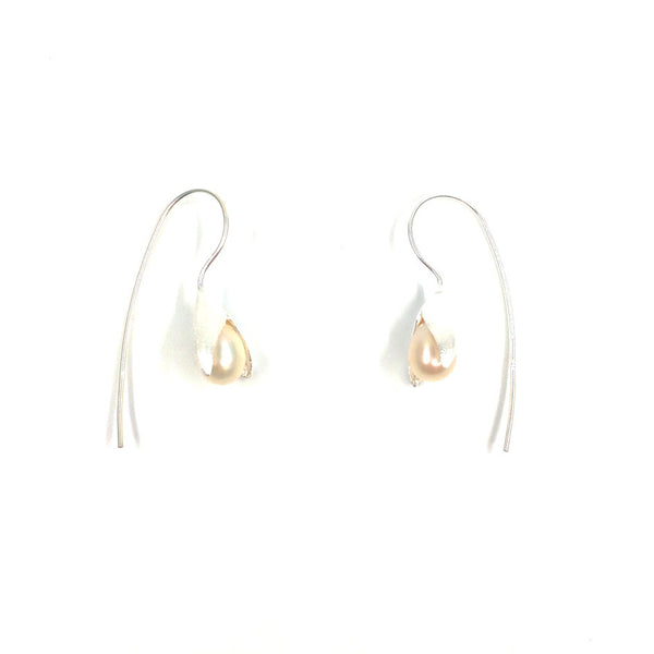 Calla Lily Drop Earrings in Sterling Silver with Freshwater Pearls