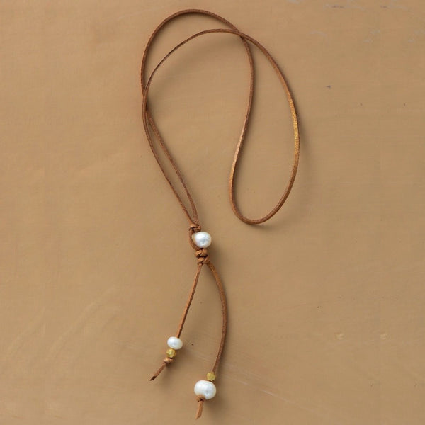 Ambrosia Leather Y Necklace with Freshwater Pearls