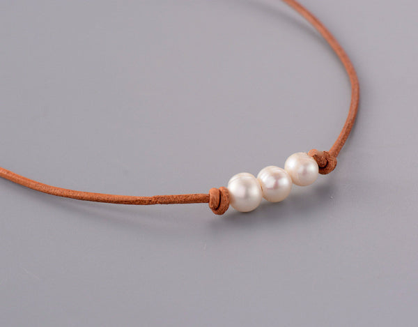 Paisley Freshwater Pearls Leather Choker Necklace