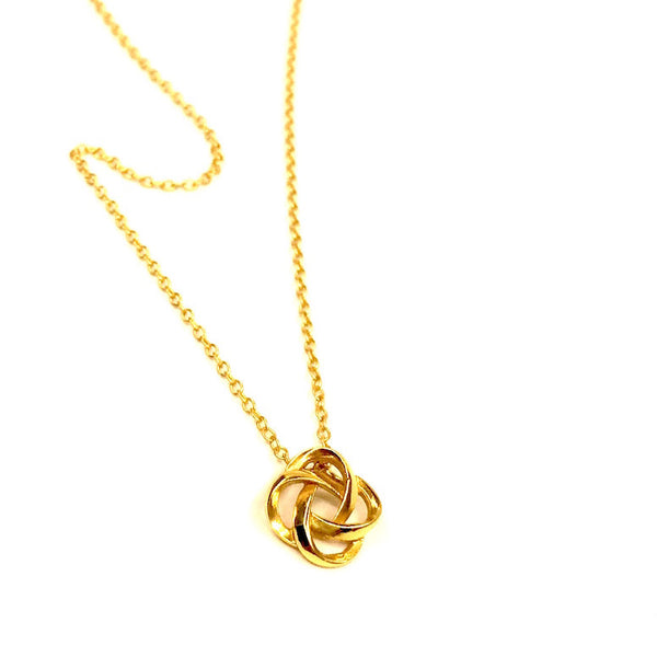 Knot Pendant Necklace in Gold Plated Sterling Silver