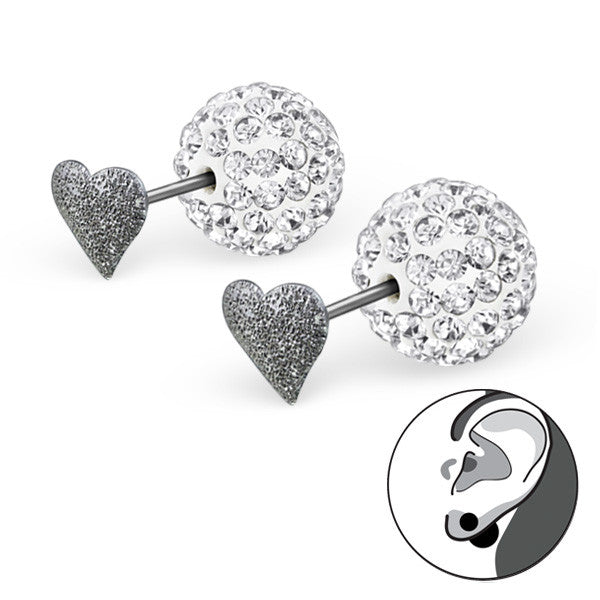 Heart Pavé Double Sided Earrings in Sterling Silver - Little Bisous