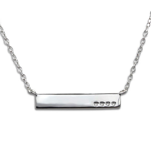Hearts Bar Pendant Necklace in Sterling Silver