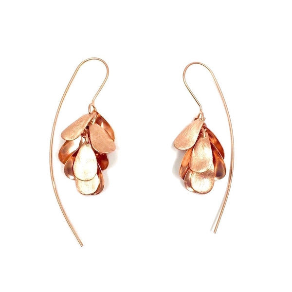Heliconia Drop Earrings in Rose Gold Plated Sterling Silver - Little Bisous