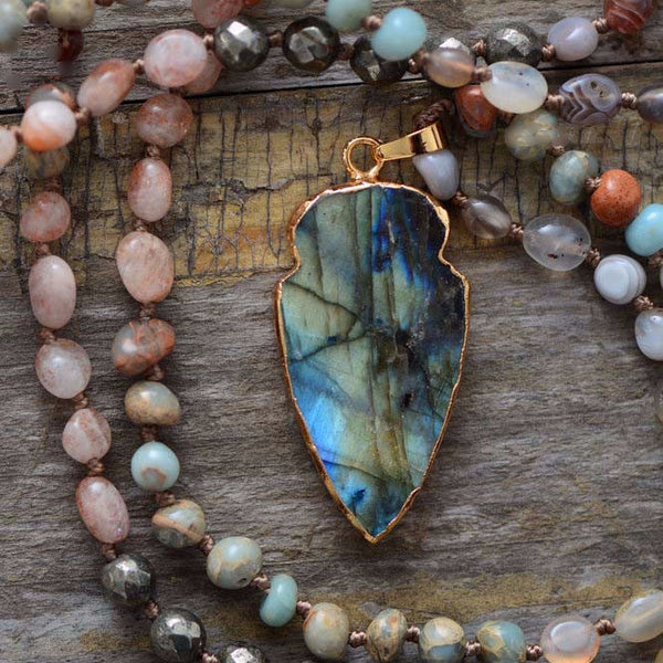Lucie Handmade Jasper Arrowhead Pendant Long Beaded Necklace