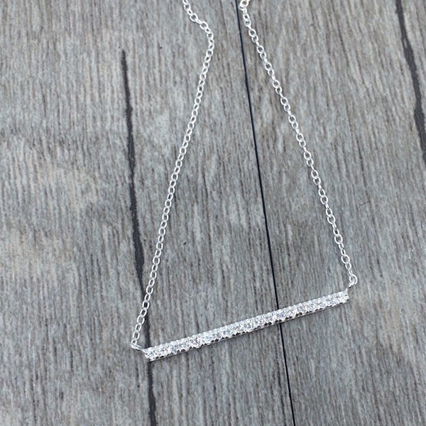 Pavé Bar Pendant Necklace in Sterling Silver - Little Bisous