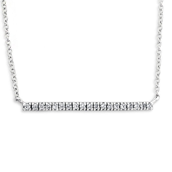 Pavé Bar Pendant Necklace in Sterling Silver