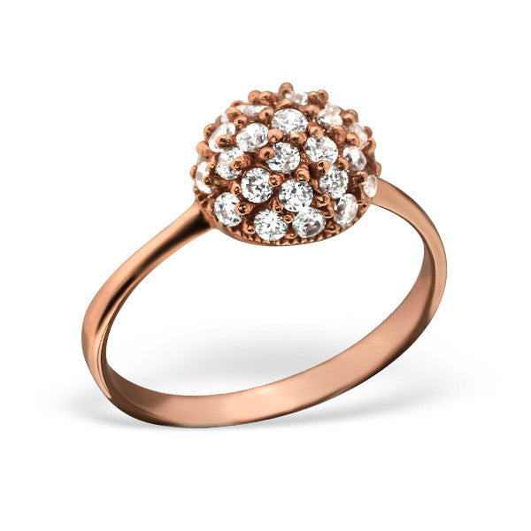 Pavé Dome Ring in Rose Gold Plated Sterling Silver