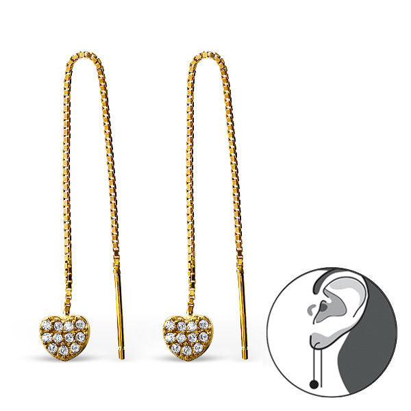 Pavé Heart Threader Earrings in Gold Plated Sterling Silver