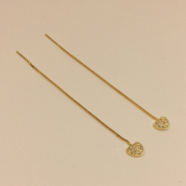 Pavé Heart Threader Earrings in Gold Plated Sterling Silver - Little Bisous