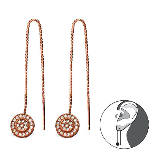 Pavé Threader Earrings in Rose Gold Plated Sterling Silver